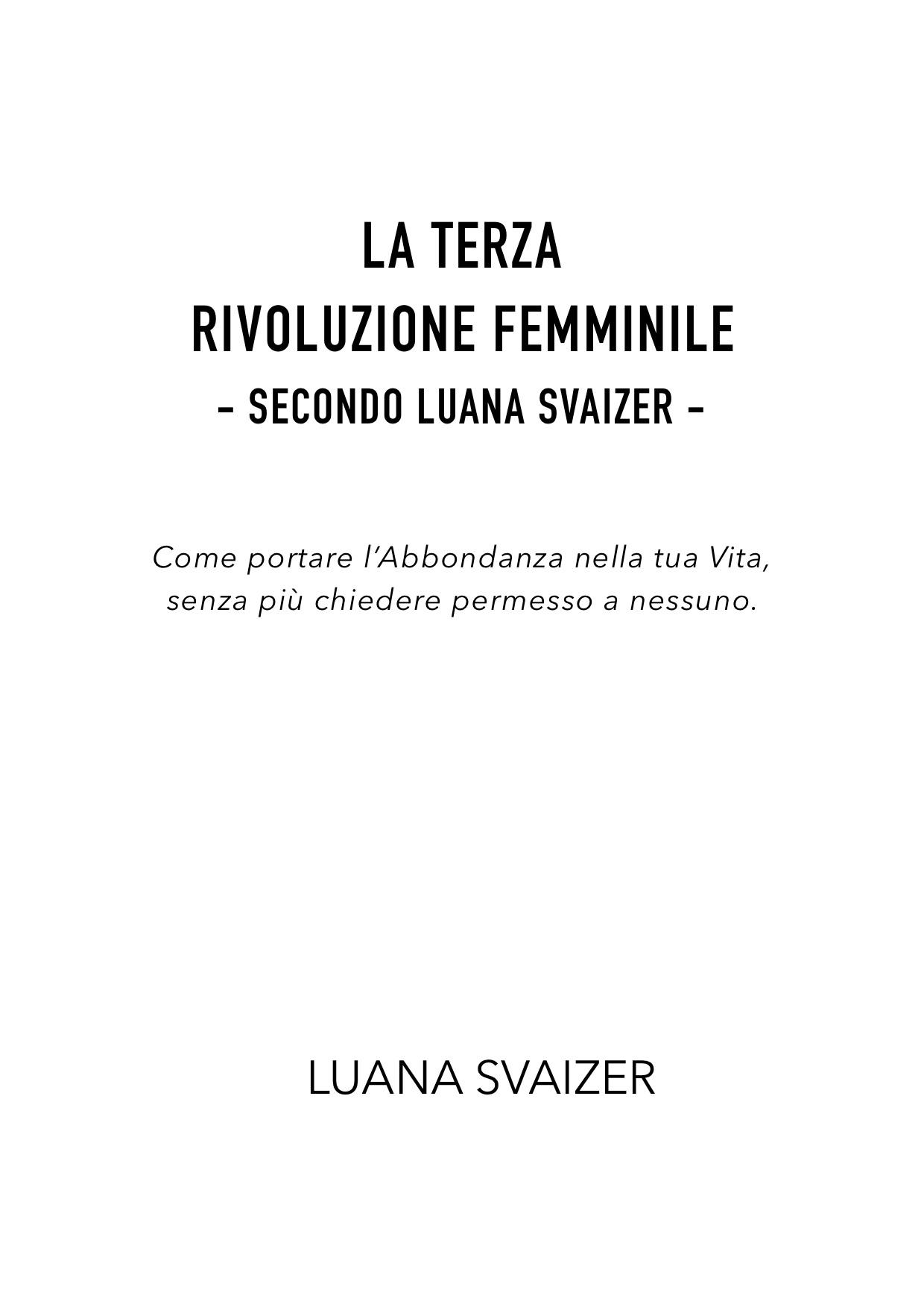 INDICE LIBRO LA TERZA RIVOLUZIONE FEMMINILE